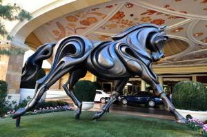 Césped artificial en el hotel Wynn-Bellagio