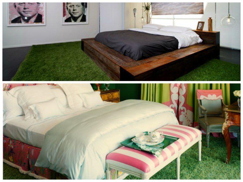 Dormitorios con césped artificial