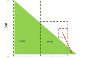 Césped artificial superficie triangular
